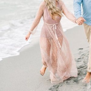 White Fox Lucky Star Rose Gold maxi dress